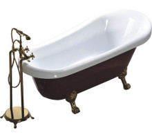 "Vanity Art VA6311-RL 67"" Bathroom Freestanding Acrylic Soaking Bathtub - White"