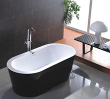 "Vanity Art VA6812-BL 67.7"" Bathroom Freestanding Acrylic Soaking Bathtub - White"
