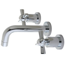 Kingston Brass Two Handle Wall Mount Lavatory Vessel Sink Faucet - Polished Chrome