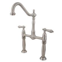 Kingston Brass Two Handle Bridge Vessel Sink Lavatory Faucet - Satin Nickel