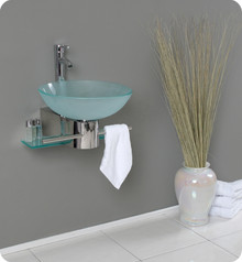 "FVN1012 Fresca Cristallino 18"" Modern Glass Bathroom Vanity w/ Frosted Vessel Sink"