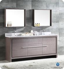 """FVN8172GO Fresca Allier 72"""" Gray Oak Modern Double Sink Bathroom Vanity w/ Mirror"""