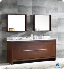 """FVN8172WG Fresca Allier 72"""" Wenge Brown Modern Double Sink Bathroom Vanity w/ Mirror"""