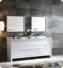 "FVN8172WH Fresca Allier 72"" White Modern Double Sink Bathroom Vanity w/ Mirror"