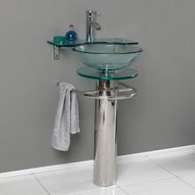 "Fresca  CMB1019-V Fresca Ovale 24"" Bathroom  Pedestal with Glass Countertop & Vessel Sink w/ Glass Shelf"