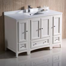 """Fresca  FCB20-122412AW-CWH-U Fresca Oxford 48"""" Antique White Traditional Bathroom Cabinets w/ Top & Sink"""