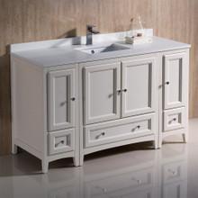 """Fresca  FCB20-123012AW-CWH-U Fresca Oxford 54"""" Antique White Traditional Bathroom Cabinets w/ Top & Sink"""