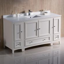 """Fresca  FCB20-123612AW-CWH-U Fresca Oxford 60"""" Antique White Traditional Bathroom Cabinets w/ Top & Sink"""