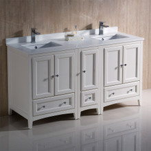 """Fresca  FCB20-241224AW-CWH-U Fresca Oxford 60"""" Antique White Traditional Double Sink Bathroom Cabinets w/ Top & Sinks"""