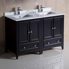 """Fresca  FCB20-2424ES-CWH-U Fresca Oxford 48"""" Espresso Traditional Double Sink Bathroom Cabinets w/ Top & Sinks"""