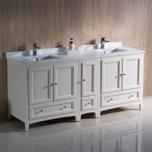 """Fresca  FCB20-301230AW-CWH-U Fresca Oxford 72"""" Antique White Traditional Double Sink Bathroom Cabinets w/ Top & Sinks"""