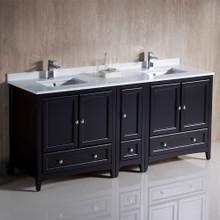 """Fresca  FCB20-301230ES-CWH-U Fresca Oxford 72"""" Espresso Traditional Double Sink Bathroom Cabinets w/ Top & Sinks"""