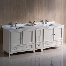 "Fresca  FCB20-361236AW-CWH-U Fresca Oxford 84"" Antique White Traditional Double Sink Bathroom Cabinets w/ Top & Sinks"