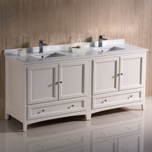 """Fresca  FCB20-3636AW-CWH-U Fresca Oxford 72"""" Antique White Traditional Double Sink Bathroom Cabinets w/ Top & Sinks"""