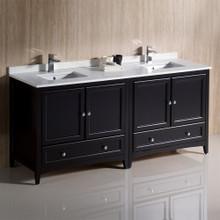 """Fresca  FCB20-3636ES-CWH-U Fresca Oxford 72"""" Espresso Traditional Double Sink Bathroom Cabinets w/ Top & Sinks"""