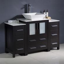 """Fresca  FCB62-122412ES-CWH-V Fresca Torino 48"""" Espresso Modern Bathroom Cabinets w/ Top & Vessel Sink"""