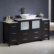 """Fresca  FCB62-123612ES-CWH-V Fresca Torino 60"""" Espresso Modern Bathroom Cabinets w/ Top & Vessel Sink"""