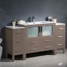 """Fresca  FCB62-123612GO-I Fresca Torino 60"""" Gray Oak Modern Bathroom Cabinets w/ Integrated Sink"""