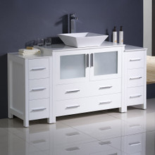 "Fresca  FCB62-123612WH-CWH-V Fresca Torino 60"" White Modern Bathroom Cabinets w/ Top & Vessel Sink"