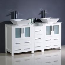 "Fresca  FCB62-241224WH-CWH-V Fresca Torino 60"" White Modern Double Sink Bathroom Cabinets w/ Tops & Vessel Sinks"