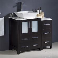 """Fresca  FCB62-2412ES-CWH-V Fresca Torino 36"""" Espresso Modern Bathroom Cabinets w/ Top & Vessel Sink"""