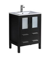 """FCB6224ES-I Fresca Torino 24"""" Espresso Modern Bathroom Cabinet w/ Integrated Sink"""