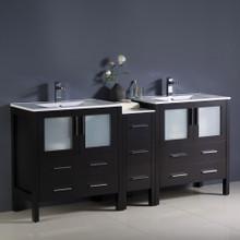 """Fresca  FCB62-301230ES-I Fresca Torino 72"""" Espresso Modern Double Sink Bathroom Cabinets w/ Integrated Sinks"""