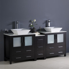 "Fresca  FCB62-301230ES-CWH-V Fresca Torino 72"" Espresso Modern Double Sink Bathroom Cabinets w/ Tops & Vessel Sinks"