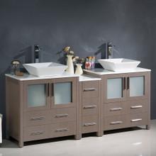 """Fresca  FCB62-301230GO-CWH-V Fresca Torino 72"""" Gray Oak Modern Double Sink Bathroom Cabinets w/ Tops & Vessel Sinks"""