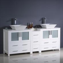 "Fresca  FCB62-301230WH-CWH-V Fresca Torino 72"" White Modern Double Sink Bathroom Cabinets w/ Tops & Vessel Sinks"