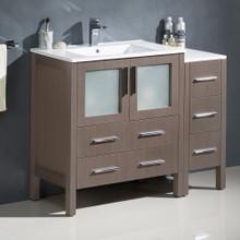 """Fresca  FCB62-3012GO-I Fresca Torino 42"""" Gray Oak Modern Bathroom Cabinets w/ Integrated Sink"""