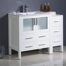 "Fresca  FCB62-3012WH-I Fresca Torino 42"" White Modern Bathroom Cabinets w/ Tops & Integrated Sink"