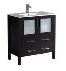 """FCB6230ES-I Fresca Torino 30"""" Espresso Modern Bathroom Cabinet w/ Integrated Sink"""