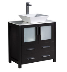 """FCB6230ES-CWH-V Fresca Torino 30"""" Espresso Modern Bathroom Cabinet w/ Top & Vessel Sink"""
