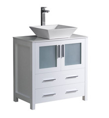 "FCB6230WH-CWH-V Fresca Torino 30"" White Modern Bathroom Cabinet w/ Top & Vessel Sink"