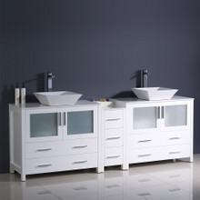 "Fresca  FCB62-361236WH-CWH-V Fresca Torino 84"" White Modern Double Sink Bathroom Cabinets w/ Tops & Vessel Sinks"