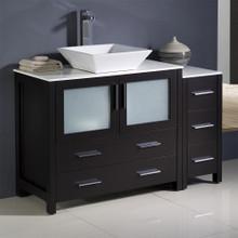 """Fresca  FCB62-3612ES-CWH-V Fresca Torino 48"""" Espresso Modern Bathroom Cabinets w/ Top & Vessel Sink"""