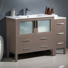 """Fresca  FCB62-3612GO-I Fresca Torino 48"""" Gray Oak Modern Bathroom Cabinet w/ Integrated Sink"""