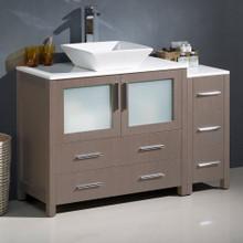 """Fresca  FCB62-3612GO-CWH-V Fresca Torino 48"""" Gray Oak Modern Bathroom Cabinets w/ Top & Vessel Sink"""