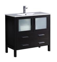 """FCB6236ES-I Fresca Torino 36"""" Espresso Modern Bathroom Cabinet w/ Integrated Sink"""