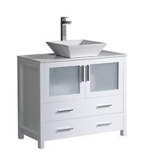 "FCB6236WH-CWH-V Fresca Torino 36"" White Modern Bathroom Cabinet w/ Top & Vessel Sink"