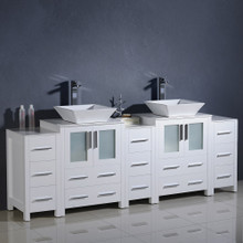 "Fresca  FCB62-72WH-CWH-V Fresca Torino 84"" White Modern Double Sink Bathroom Cabinets w/ Tops & Vessel Sinks"
