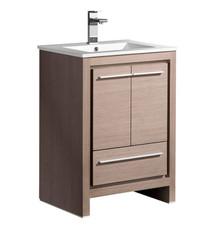 """FCB8125GO-I Fresca Allier 24"""" Gray Oak Modern Bathroom Cabinet w/ Sink"""