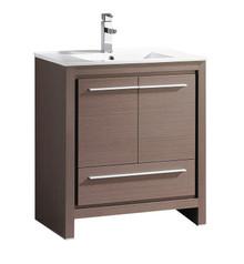 """FCB8130GO-I Fresca Allier 30"""" Gray Oak Modern Bathroom Cabinet w/ Sink"""