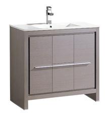 """FCB8136GO-I Fresca Allier 36"""" Gray Oak Modern Bathroom Cabinet w/ Sink"""