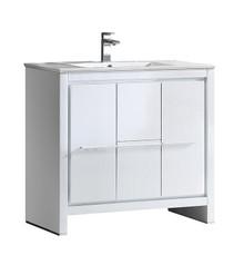 """FCB8136WH-I Fresca Allier 36"""" White Modern Bathroom Cabinet w/ Sink"""