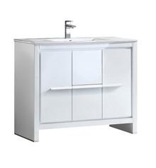 """FCB8140WH-I Fresca Allier 40"""" White Modern Bathroom Cabinet w/ Sink"""