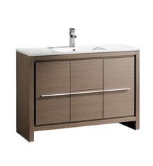 """FCB8148GO-I Fresca Allier 48"""" Gray Oak Modern Bathroom Cabinet w/ Sink"""