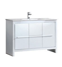 """FCB8148WH-I Fresca Allier 48"""" White Modern Bathroom Cabinet w/ Sink"""