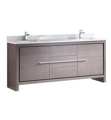 """FCB8172GO-CWH-U Fresca Allier 72"""" Gray Oak Modern Double Sink Bathroom Cabinet w/ Top & Sinks"""